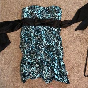 Teal and black home coming dress by ruby rox